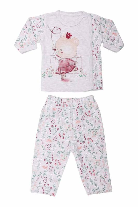 HOPPALA BABY - Ayıcık Desenli Zıbın Takımı 2064   Gri