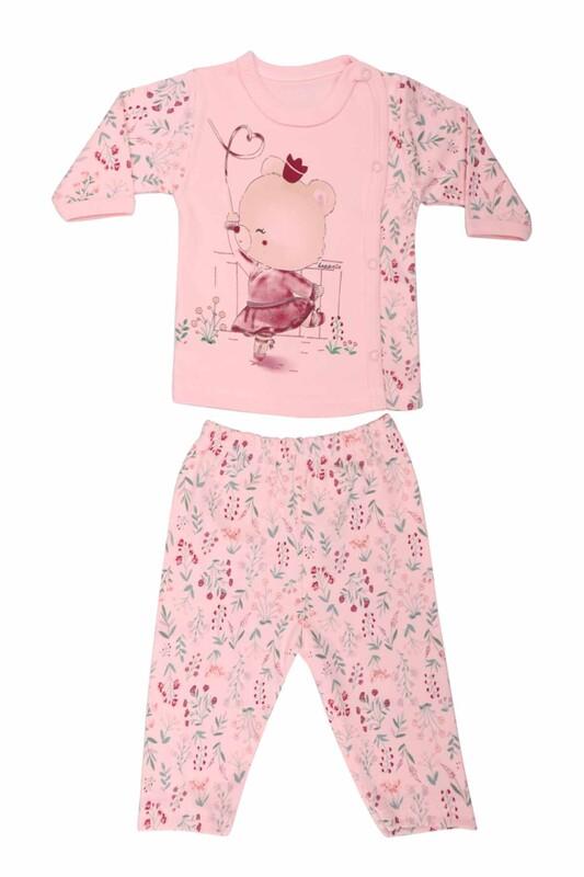 HOPPALA BABY - Ayıcık Desenli Zıbın Takımı 2064   Pudra