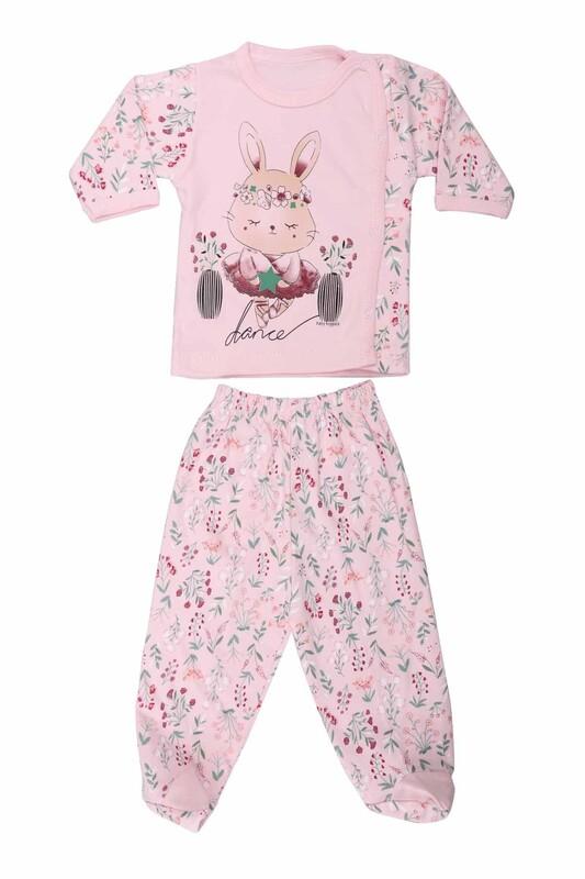 HOPPALA BABY - Hoppala Baby Desenli Patikli Zıbın Takımı 2063   Pembe