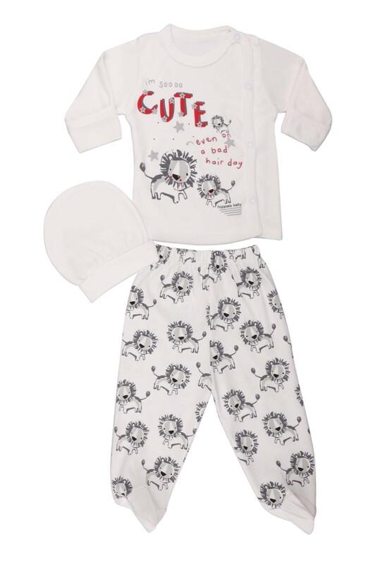 HOPPALA BABY - Hoppala Baby Aslan Desenli 3'lü Zıbın Seti 2023   Beyaz