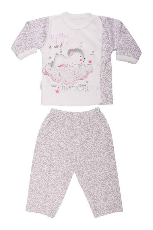 HOPPALA BABY - Hoppala Baby Yıldız Baskılı Patiksiz Zıbın 8505   Pudra
