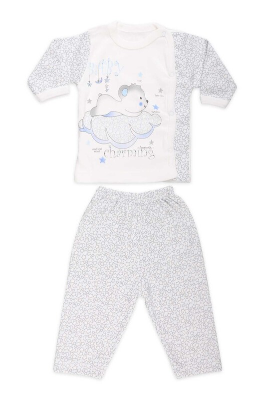 HOPPALA BABY - Hoppala Baby Yıldız Baskılı Patiksiz Zıbın 8505   Mavi