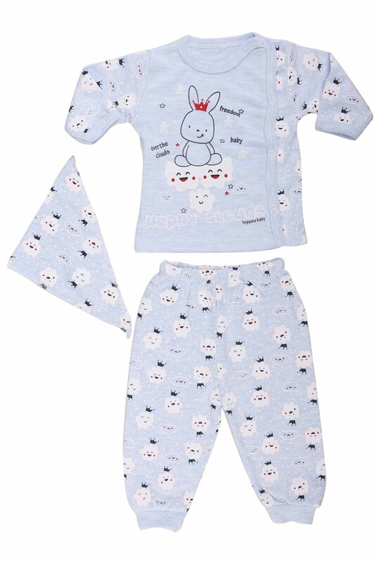 HOPPALA BABY - Hoppala Baby Bulut Desenli Manşetli Zıbın 2061   Mavi