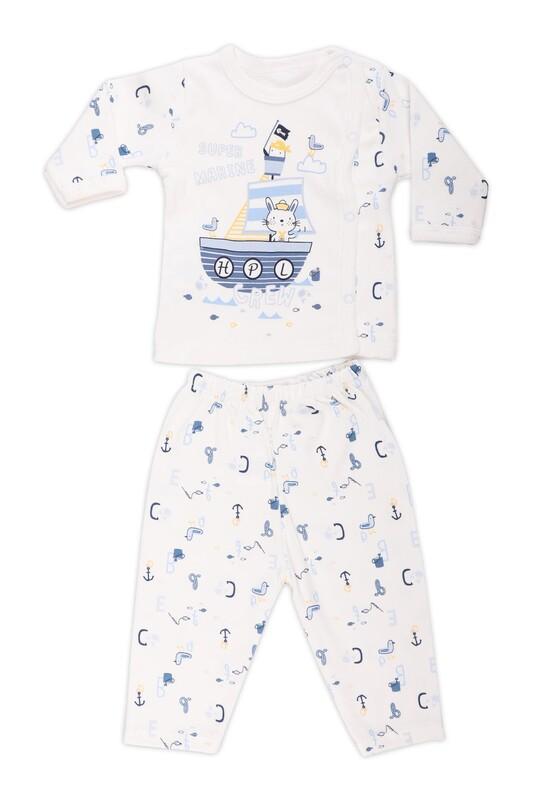 HOPPALA BABY - Hoppala Baby Çapa Desenli Patiksiz Zıbın 2056   Lacivert