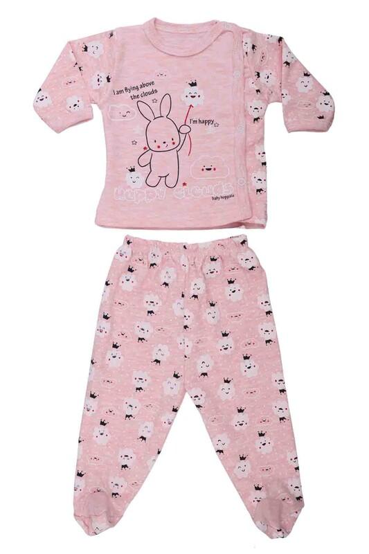 HOPPALA BABY - Hoppala Baby Bulut Desenli Patikli Zıbın 2059   Pembe