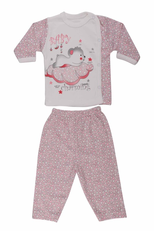 HOPPALA BABY - Hoppala Baby Yıldız Baskılı Patiksiz Zıbın 8505   Pembe
