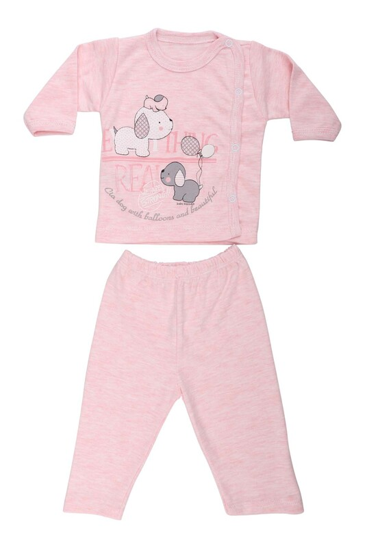 HOPPALA BABY - Hoppala Baby Köpek Baskılı Patiksiz Zıbın Set 2029   Pembe