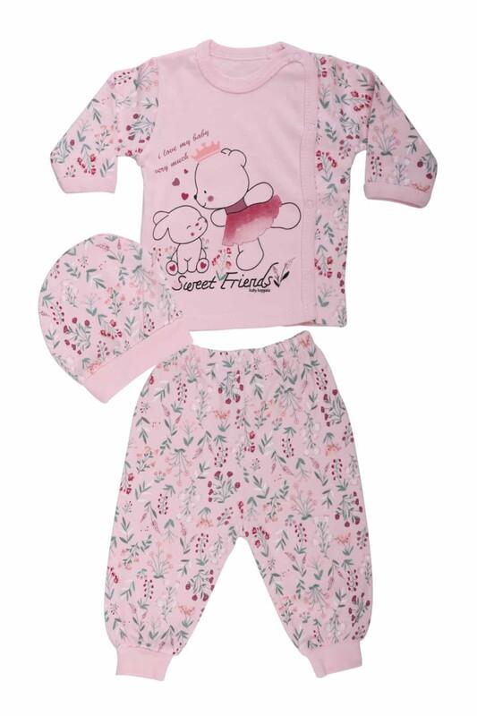 HOPPALA BABY - Hoppala Baby Ayıcık Desenli Zıbın Set 2065   Pembe
