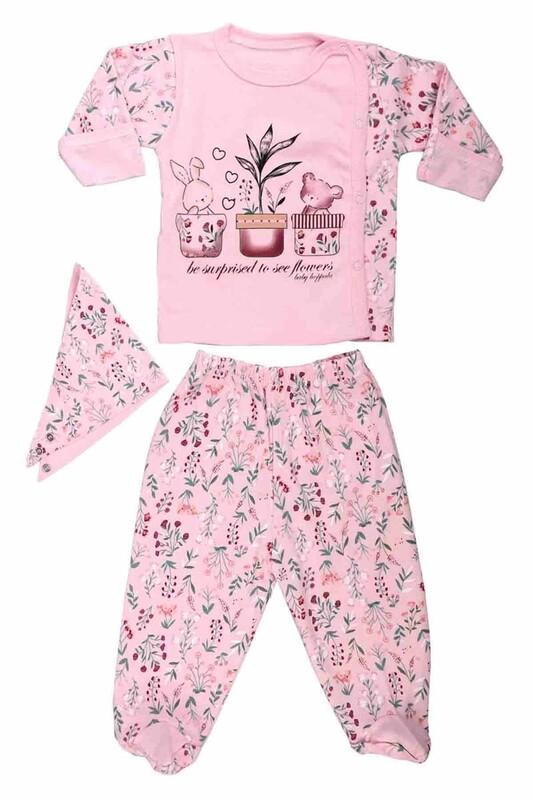 HOPPALA BABY - Hoppala Baby Çiçek Desenli 3'lü Zıbın | Pembe