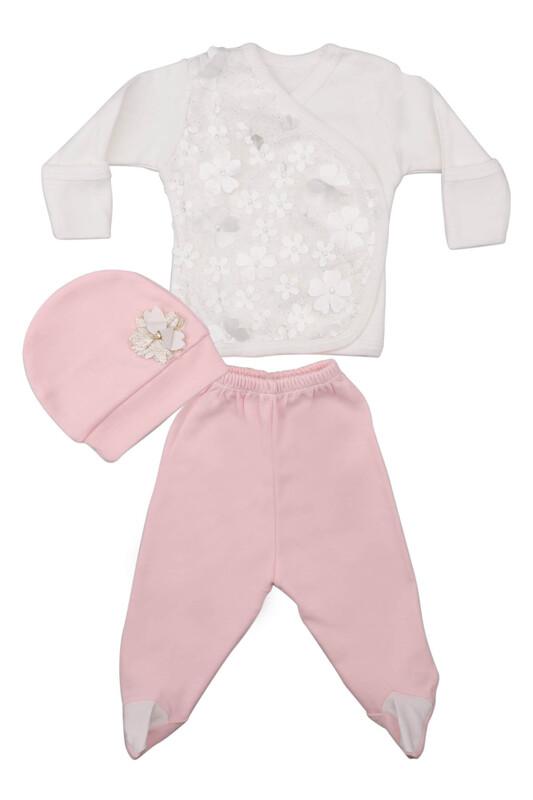 AGUCUKBABY - Agucuk Baby Çiçekli 3'lü Zıbın Takımı 20108 | Pembe